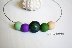 Unique handmade glittering eye necklace/Polymer clay by GATODesign