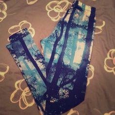 Blue Tree Printed Leggings! Fashion leggings, trees prints, different shades of blue. Material Girl Pants Leggings