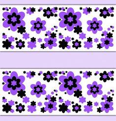 Purple Floral Wallpaper Border Wall Decals Teen Girls Room Decor #decampstudios