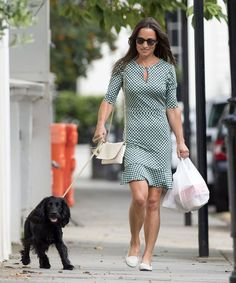 Pin for Later: With a Quick Shoe Swap, Pippa Turned Her Polished Dress Into Something Cool and Casual Pippa Paired Her Printed Dress With White Loafers and a Small Crossbody Bag