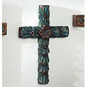 HAND CARVED FLORAL CROSS