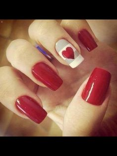 Red nails with heart