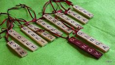 Tile Ornaments    This is a very easy project   You will need   drill (I use a dremel)   craft sticks   scrable tiles   glue (I use Aleen...