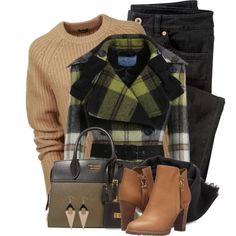 Checked Coat with Bows by colierollers on Polyvore featuring Joseph, Wrap, See by Chloé, Toolally and Prada