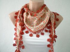 Women Scarves Cotton Scarf in Salmon Peach and by fizzaccessory, $14.00