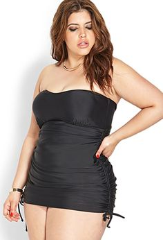 Posh Ruched Strapless Swimsuit - FOREVER 21