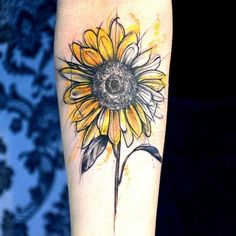 Sunflower tattoo, watercolor.