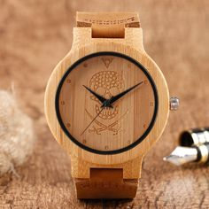 Men's Creative Watches Wood Bamboo Skull Gothic Style Quartz Watch Brown Genuine Leather Wristwatches Women Clock Gift Online
