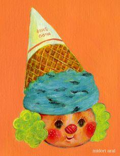 アイスピエロ Food Humor, Ice Cream, Sweets, Foods, Cartoon, Illustration, No Churn Ice Cream, Food Food, Food Items