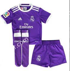 3e6b2090e 2016-17 Real Madrid Away Purple Kids Youth Soccer Uniform With Socks Mon  Cheri