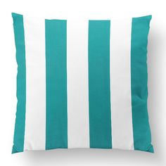 "18"" Custom Outdoor Simple Stripe Cushion  Simple Stripe Item# CC-OD0007 100% Polyester Cover 100% Polyester Fill Teal Custom Outdoor Cushions, Striped Cushions, Fill, Shapes, Throw Pillows, Texture, Quilts, Blanket, Simple"