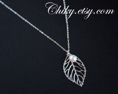Leaf necklace with pearl - STERLING SILVER, simple elegant everyday wear, gift ideas, leaf charm necklace. $23.00, via Etsy.