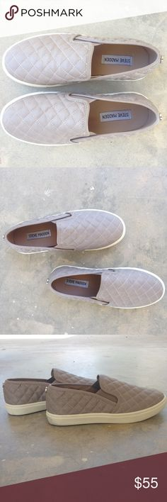 """Steve Madden Ecentrcq Slip-On Sneakers These quilted slip-ons are a chic and comfortable option for everyday. The taupe grey color of these is neutral making them easy to style. These feature a quilted faux leather upper, rubber outsole, and a 1"""" platform. Steve Madden Shoes Sneakers"""