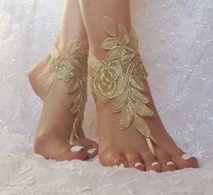Plage d'or sandales pieds nus dentelle gratuit par GlovesByJana