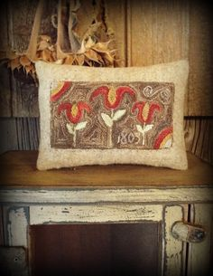 Punch Needle Pattern Primitive Pillow by TeresasPrimTreasures
