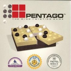 Pentago is a fun, challenging and multiple award winning strategy game for kids and adults that is both simple and sophisticated. The object is to be first to create a row of five marbles in any direction, but with a twist. Each move consists of placing a marble and then twisting one of the four game blocks. Children gain spatial orientation, eye-hand coordination, logic and problem-solving abilities with this mind-twisting game for 2 players.