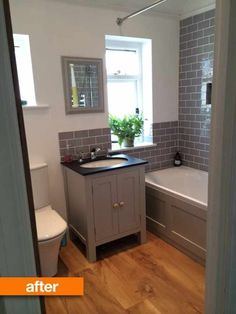 Before & After: Naomi's Beautiful British Bathroom Apartment Therapy. I like the gray subway-style tiles. Bad Inspiration, Bathroom Inspiration, British Bathroom, Family Bathroom, Bathroom Grey, Bathroom Small, Small Bathtub, Bathroom Mirrors, Wood Floor Bathroom