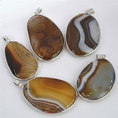 Hot! Fashion Natural Stone Jewelry Brown Crystal Gem Stone Slice Pendants Druzy Onyx Slices Charms Pendants 6PCS Free Shipping
