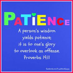 """"""" It's wise to be patient and show what you are like by forgiving others. """""""