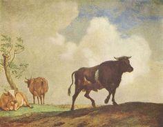 Paulus Potter. Stier und Kühe. Um 1650, Eichenholz.Berlin. Gemäldegalerie.Tiermalerei, Landschaftsmalerei.Niederlande (Holland).Barock. KO 00692