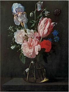 File:Nicolaes van Veerendael - A tulip, roses, iris and other flowers in a glass vase on a ledge.jpg