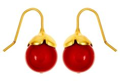 Coral Lacquered Mother-of-Pearl Drops