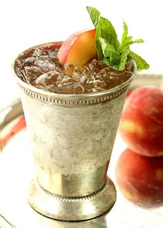 Honey Peach Mint Julep - Not just for the Derby; a great summer cocktail!   Creative-Culinary.com