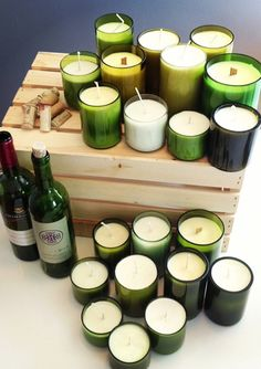 Robustly Scented Soy Candles In Up-Cycled Cut Wine Bottles - Many Scents To Choose From - 10 oz.