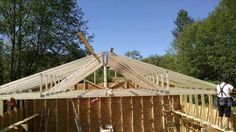 Trusses being put in place