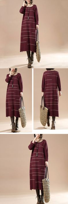 Women Autumn Round Neck Long Sleeve Striped Casual Long Sweater Red Wine $59.00