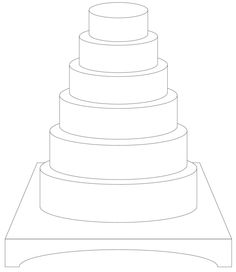 Round 6 Tiers W/ Plateau requested by bobwonderbuns 4 Tier Wedding Cake, 2 Tier Cake, Square Wedding Cakes, Square Cakes, Tiered Cakes, Cake Chart, Design Your Own Cake, Cake Sketch, Cake Drawing