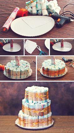 ¿Cómo hacer una tarta de pañales? -  paso a paso