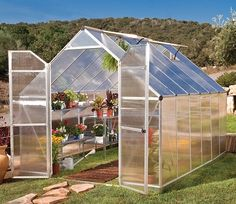 The Palram Essence 8' wide by 12' deep Greenhouse has a smart, clean and durable design with twin-wall glazing.