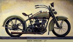 """f you like motorcycles, you are bound to like this painting by NOAPS artist Simon Winegar from Utah. """"Green Gramlin"""" is a large 24x44 painting. By the way, there seems to be a legend about painting bikes in green. Do you know it? This painting is part of the Best of America Exhibit 2016 at the Addison Art Gallery See the artists of NOAPS Exhibits at http://www.noaps.org/html/exhibits.html"""