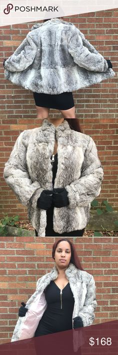 Rabbit Fur Coat 100%  rabbit fur coat. This coat is tri colored and absolutely gorgeous!!! It has hook/eye closures, beautiful fold down collar and two putter pockets. This coat is absolutely stunning!! I loved it and am now passing it along; as I love to switch my style up!!!! 😍 Jackets & Coats