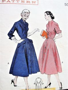 Welcome to So Vintage Patterns 1950s Dress Patterns, Dress Making Patterns, Vintage Sewing Patterns, Clothing Patterns, Retro Outfits, Vintage Outfits, Vintage Vogue, Vintage Fashion, Dress Drawing