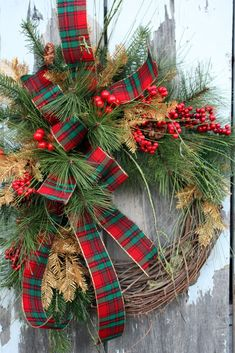 Christmas Wreath, Pine, Red Berries, Gold Pine, Plaid Ribbon via Etsy.