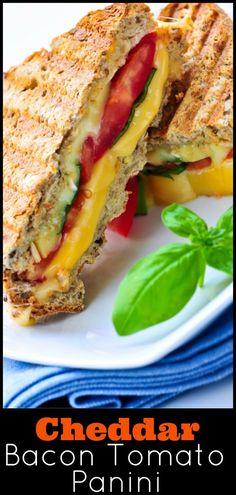 Don't have a panini press? Easy to make cheddar tomato bacon panini sandwich recipe. via /lannisam/