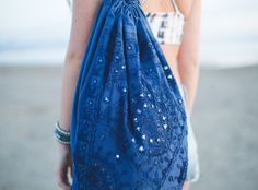Wild One Festival Backpack •• Blue, Mirror Work, Sling Bag by Lady Scorpio | Shop Now LadyScorpio101.com | @LadyScorpio101 | Photography by Olivia Markle @OliviaMarklePhoto // Sand & Summer Vibes •• Boho Accessories
