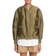 3.1 Phillip Lim Bomber Jacket ($850) ❤ liked on Polyvore featuring outerwear, jackets, everglade, utility jacket, flight jacket, brown bomber jacket, 3.1 phillip lim and blouson jacket