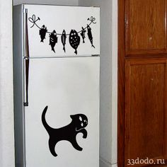 Наклейки на стены в виде кота и пойманных рыб для декора холодильника или стен   vinyl stickers for home