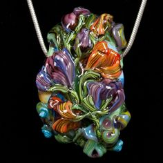 Custom Made Glass Lampwork Bead Flowers - Lusciously Autumn