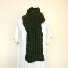 Unisex Hand Knitted Wool Blend Dark Green Chunky Scarf - Men's scarf - for him Christmas gift idea