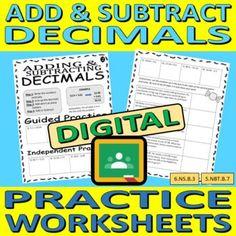 Adding and Subtracting Decimals - DIGTIAL Practice Worksheets (3)