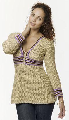 Empire-Waist Stripe Tunic Crochet Pattern from Caron Yarn | FaveCrafts.com