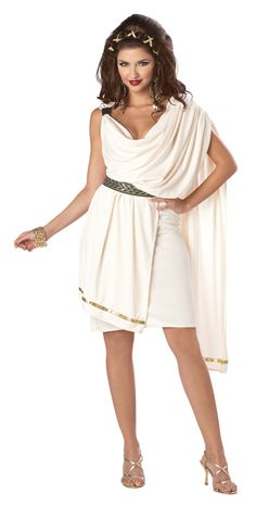 Classic Women's Toga costume. Simple cream coloured toga dress with swoop neckline and gold trim. For Halloween, Toga parties, or ancient Civilization themes!