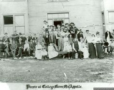 Group of people gathered for a picnic at St. John's College Farm in Qu'Appelle in 1894.