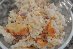 Roasted garlic hashbrown gratin