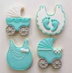 Baby shower cookies - Love the bib Fancy Cookies, Iced Cookies, Cute Cookies, Cupcake Cookies, Sugar Cookies, Cupcakes, Baby Girl Cookies, Baby Shower Cookies, Cookie Frosting