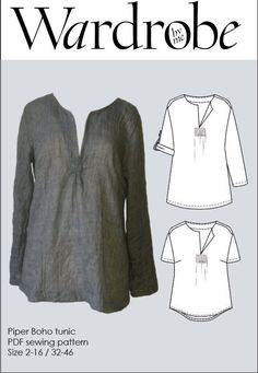 The Piper Boho tunic PDF pattern is a relaxed bohemian tunic or shirt, designed to be a quick and easy sew. The pattern is suitable for Misses and